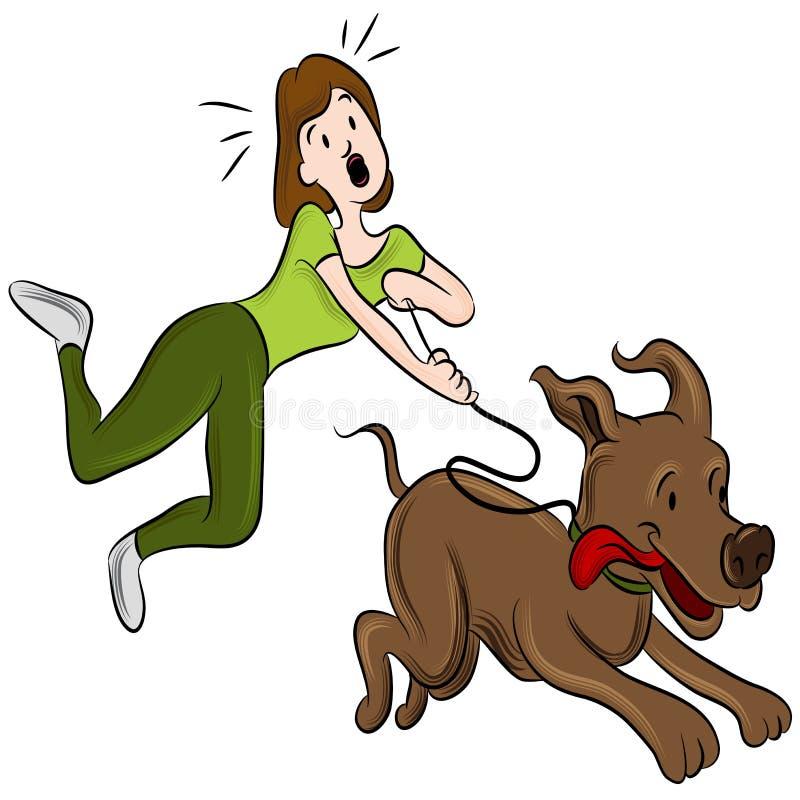 Kvinna som går hunden royaltyfri illustrationer