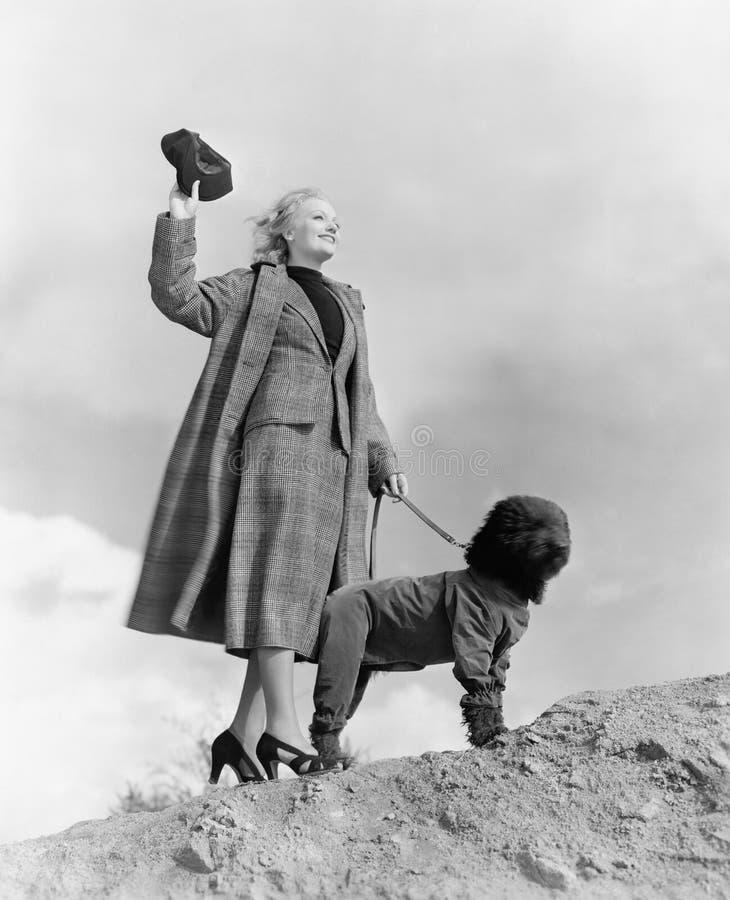 Kvinna som går hunden på blåsig dag (alla visade personer inte är längre uppehälle, och inget gods finns Leverantörgarantier som  royaltyfria bilder
