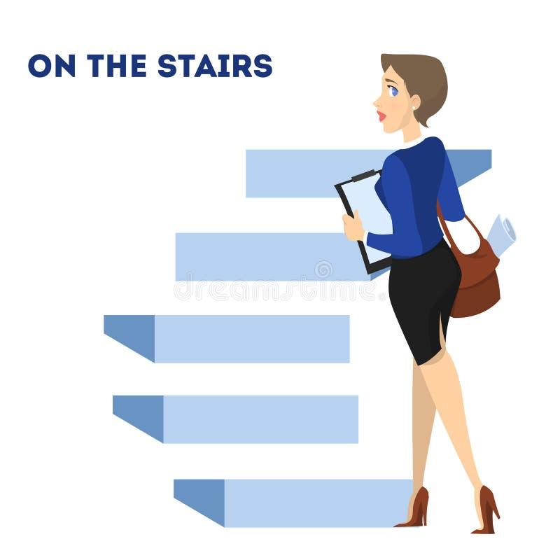 Kvinna som går upp trappan Idé av tillväxt stock illustrationer
