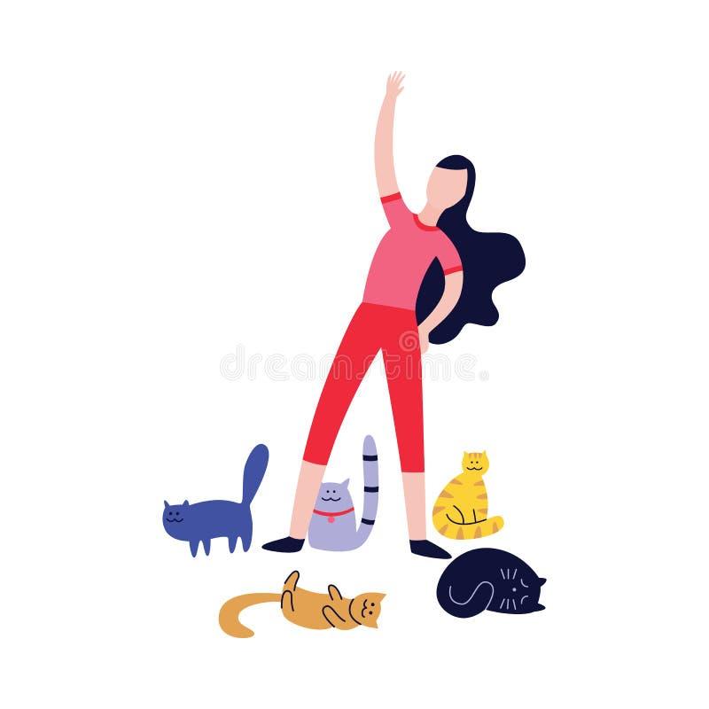 Kvinna som gör övningar som omges av plan tecknad filmstil för många katter vektor illustrationer