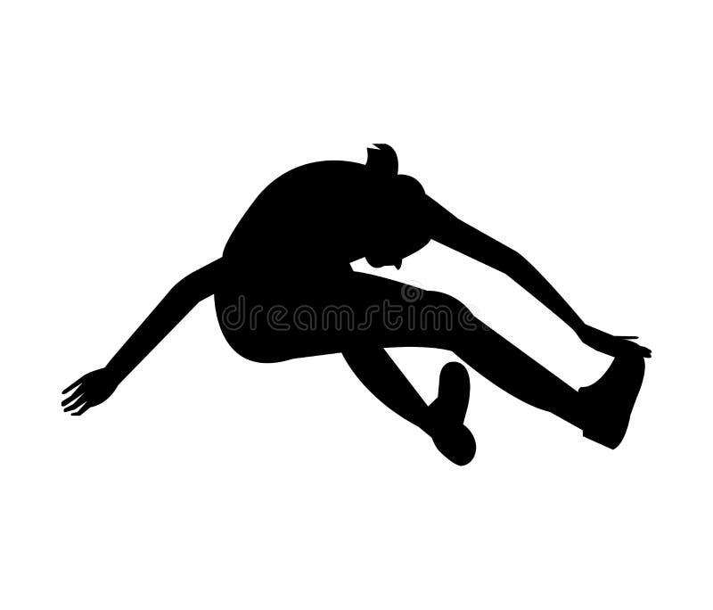 Kvinna som gör en längdhoppkontur royaltyfri illustrationer