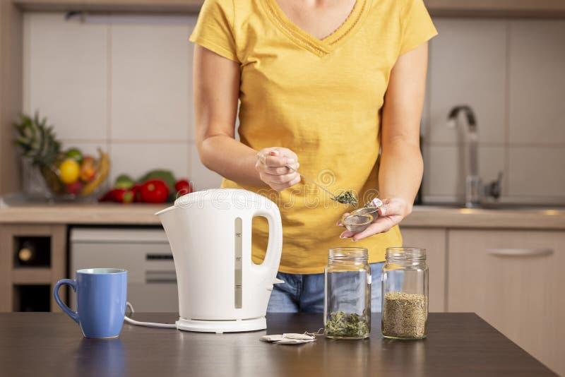 Kvinna som gör ett te för mintkaramellsidor arkivbild