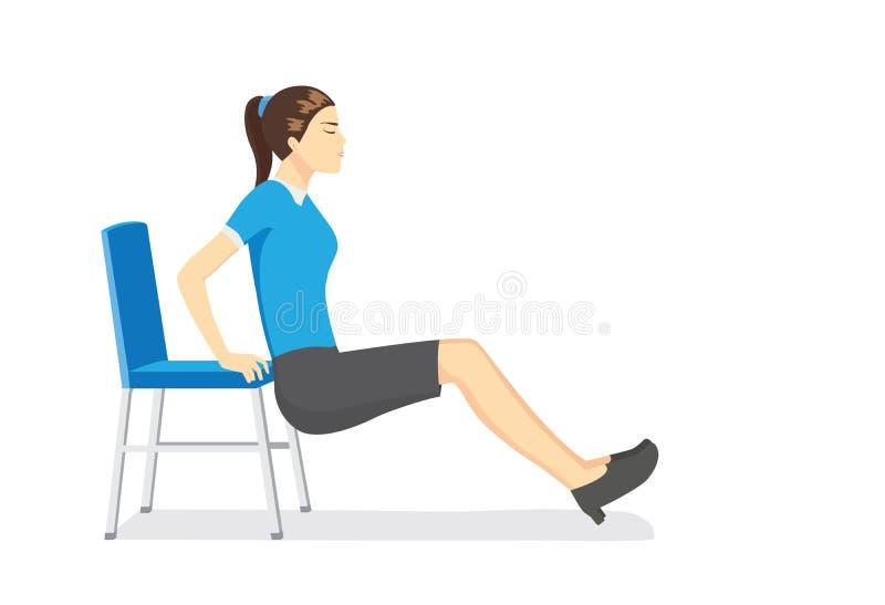 Kvinna som gör kontoret som sträcker övningar med kontorsstolar stock illustrationer