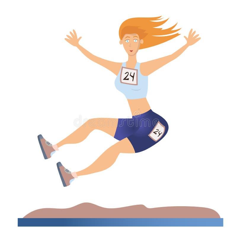 Kvinna som gör längdhopp Ljus friidrott Vektorillustration som isoleras på vit bakgrund vektor illustrationer