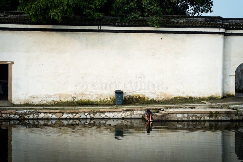 Kvinna som gör ren en platta i en kanal arkivbilder