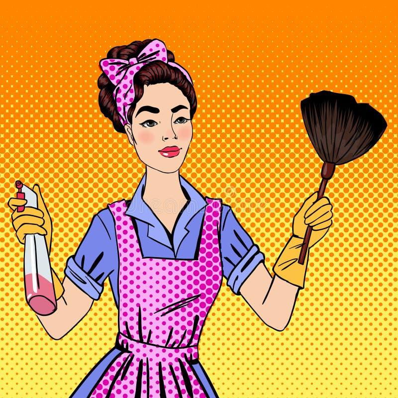 Kvinna som gör ren huset Flicka som gör husarbete royaltyfri illustrationer