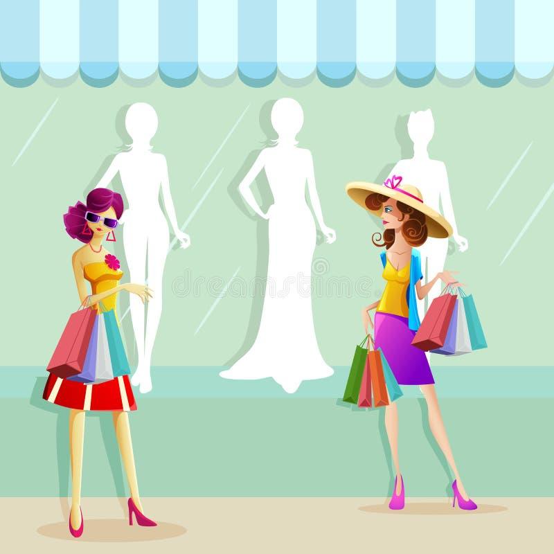 Kvinna som gör shopping vektor illustrationer