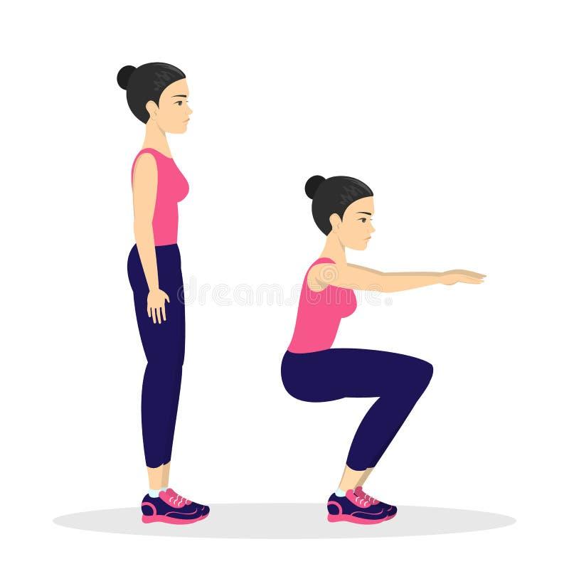 Kvinna som gör squats Övning för ände Bengenomkörare royaltyfri illustrationer