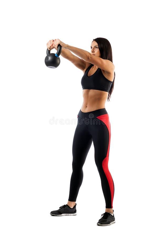 Kvinna som gör utandning med vikt arkivbild