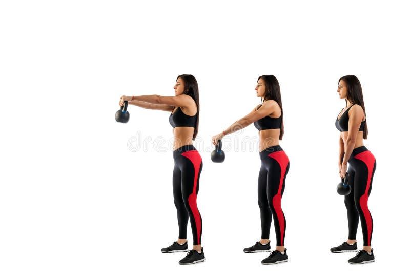Kvinna som gör utandning med vikt på biceps royaltyfri fotografi