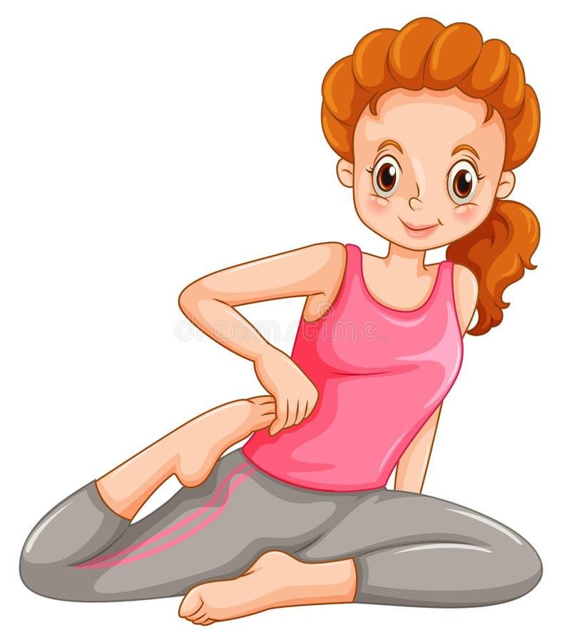 Kvinna som gör yoga bara royaltyfri illustrationer