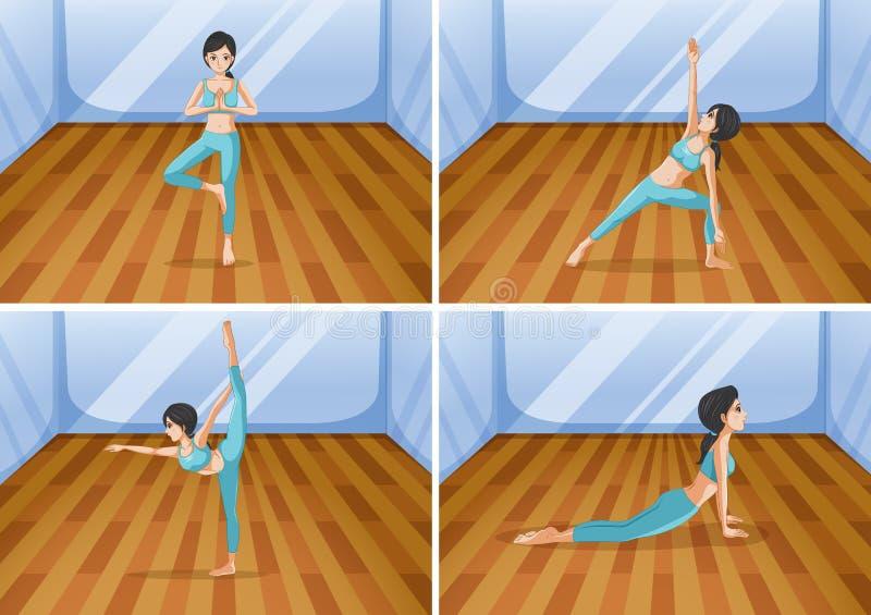 Kvinna som gör yoga i fyra olika positioner royaltyfri illustrationer