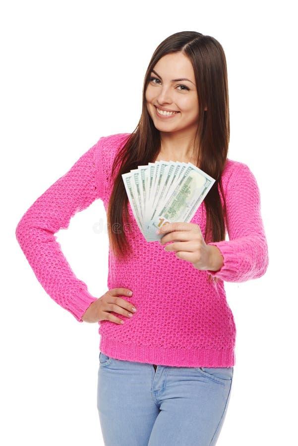 Kvinna som ger dig oss dollarpengar fotografering för bildbyråer