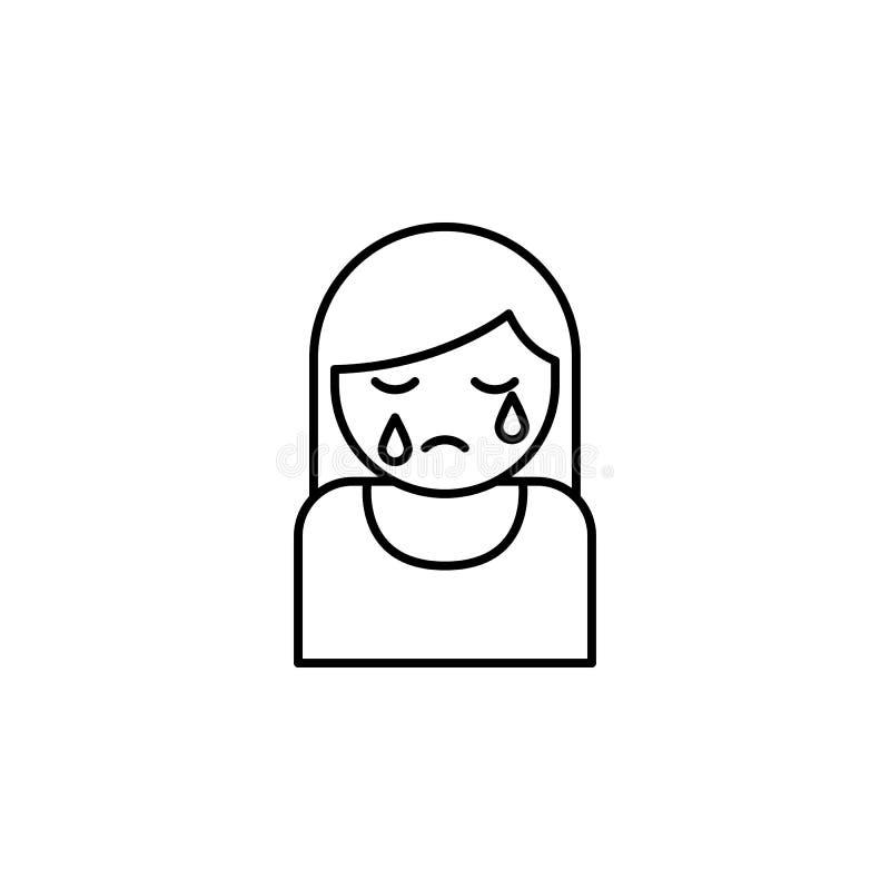 kvinna som gråter, dödöversiktssymbol detaljerad uppsättning av dödillustrationsymboler Kan anv?ndas f?r reng?ringsduken, logoen, vektor illustrationer