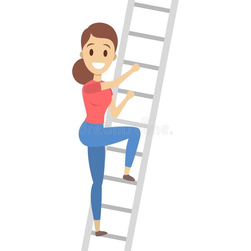 Kvinna som högt klättrar royaltyfri illustrationer
