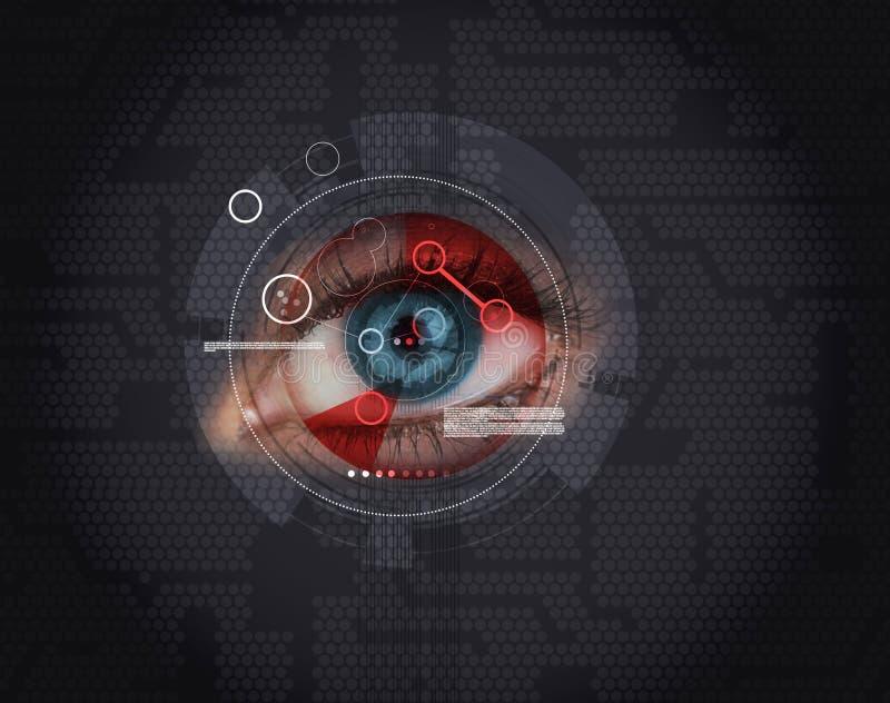 Kvinna som har en ögonlegitimation vektor illustrationer