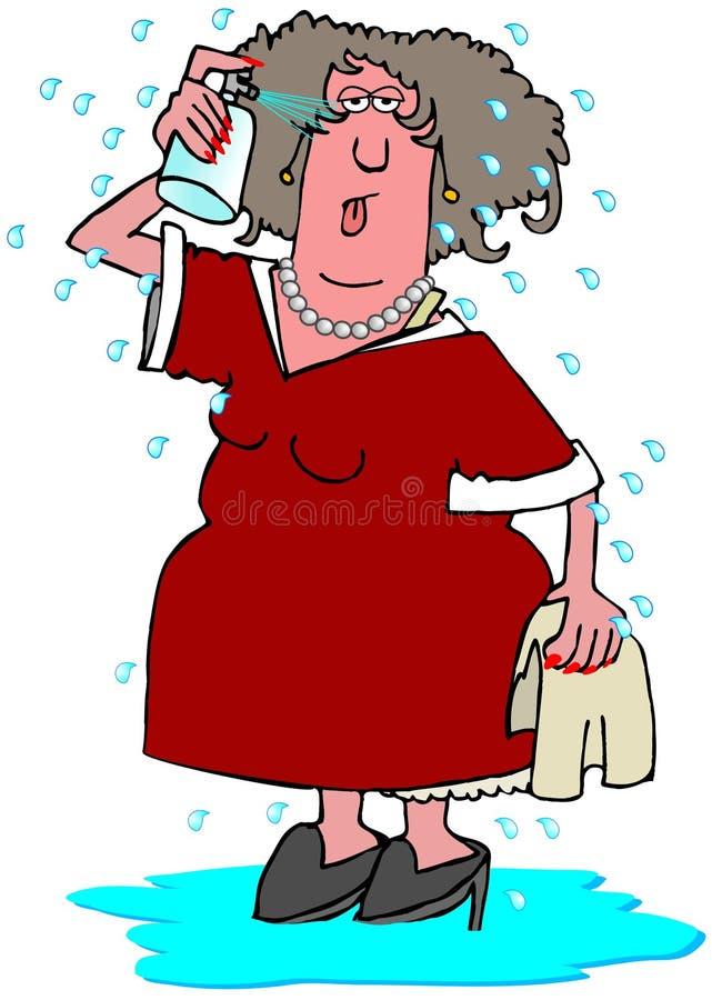 Kvinna som har en varm exponering royaltyfri illustrationer