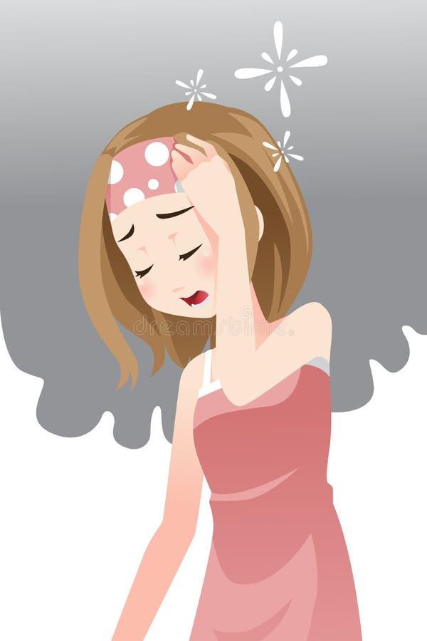 Kvinna som har huvudvärk stock illustrationer