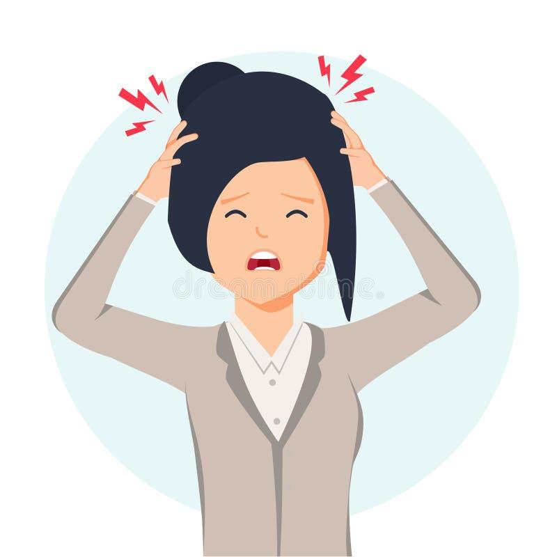 Kvinna som har huvudvärken, migrän, trängande hand till hennes panna, tecknad filmillustration som isoleras på bakgrund royaltyfri illustrationer