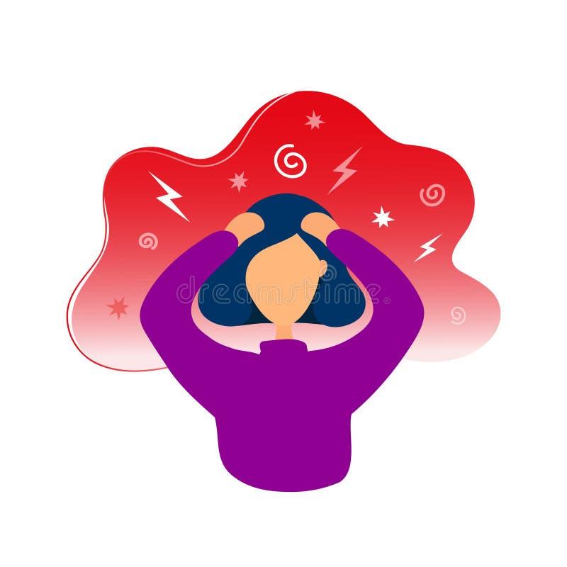 Kvinna som har huvudvärkinnehavhuvudet i händer royaltyfri illustrationer