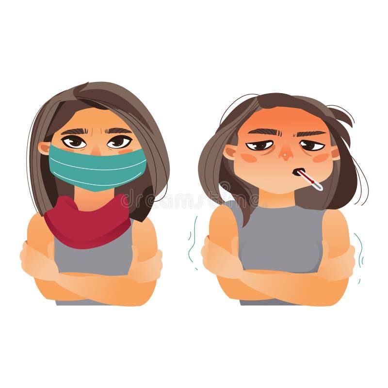 Kvinna som har influensa, feber, bärande medicinsk maskering royaltyfri illustrationer