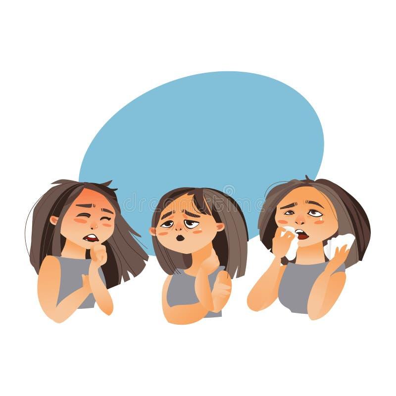 Kvinna som har influensa - trötthet, rinnande näsa, hosta vektor illustrationer