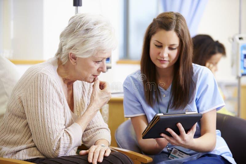Kvinna som har kemoterapi med sjuksköterskan Using Digital Tablet arkivbilder