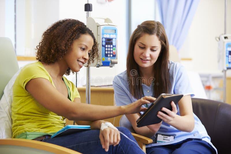 Kvinna som har kemoterapi med sjuksköterskan Using Digital Tablet arkivfoton