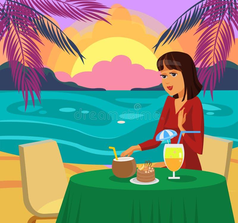 Kvinna som har matställen på strandvektorillustration royaltyfri illustrationer