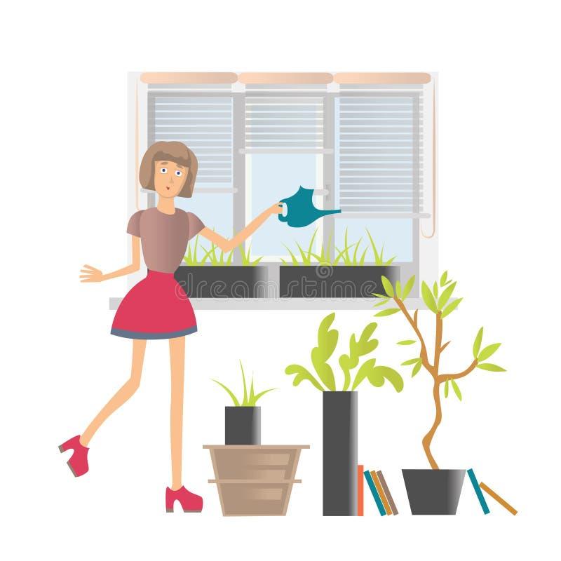 Kvinna som hemma eller i bevattnar blommor kontoret Vektortecknad filmillustration som isoleras på vit bakgrund vektor illustrationer