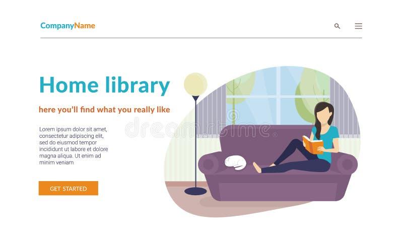 Kvinna som hemma sitter på soffan och läsningen en bok Plan conce royaltyfri illustrationer