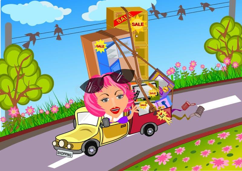Kvinna som kör bilen, når att ha shoppat royaltyfri illustrationer