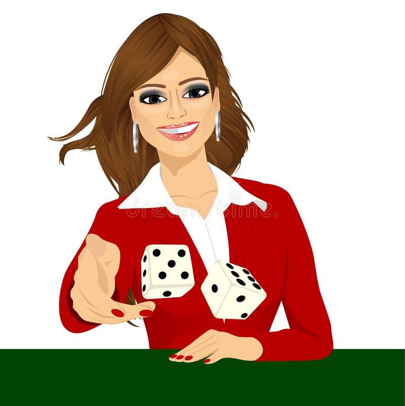 Kvinna som kastar tärningen som spelar spela skitar royaltyfri illustrationer