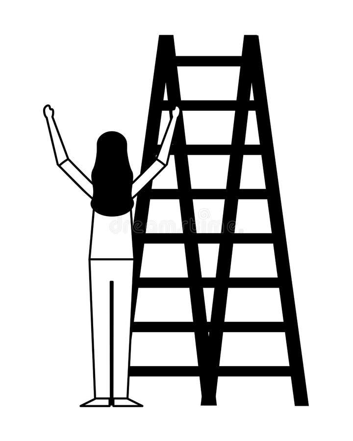 Kvinna som klättrar trappa på vit bakgrund royaltyfri illustrationer