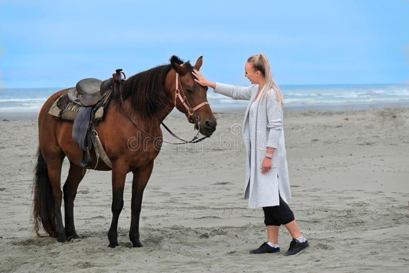 Kvinna som klappar hästen på stranden vid havet royaltyfria foton