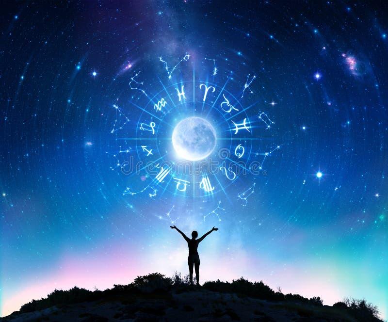 Kvinna som konsulterar stjärnorna - zodiaktecken royaltyfri foto