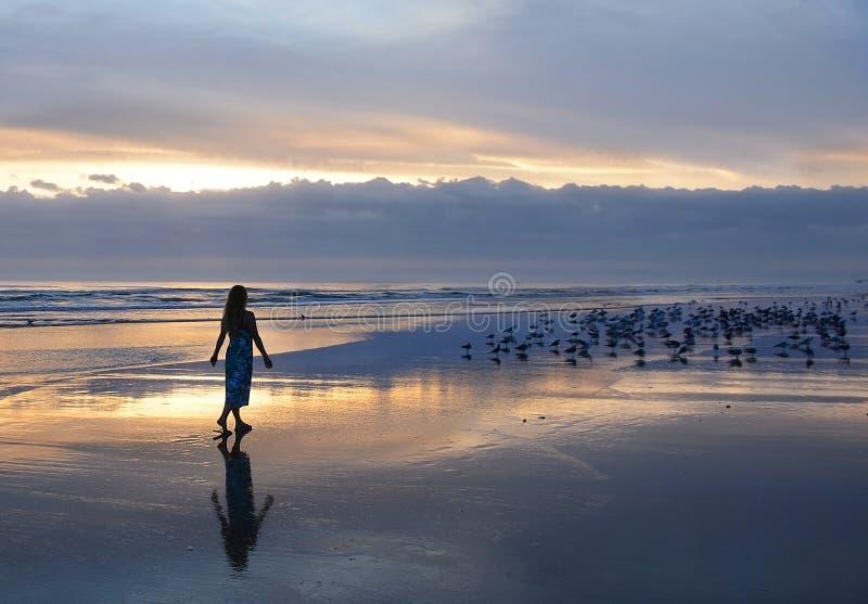 Kvinna som kopplar av på stranden på soluppgång arkivfoton