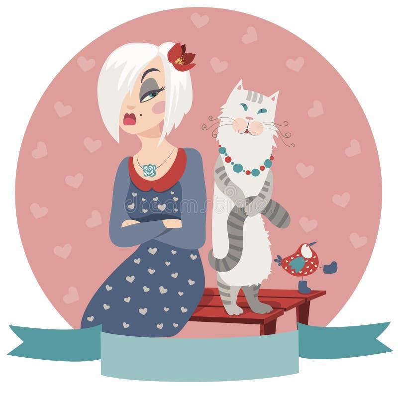 Kvinna som kränks av katten stock illustrationer