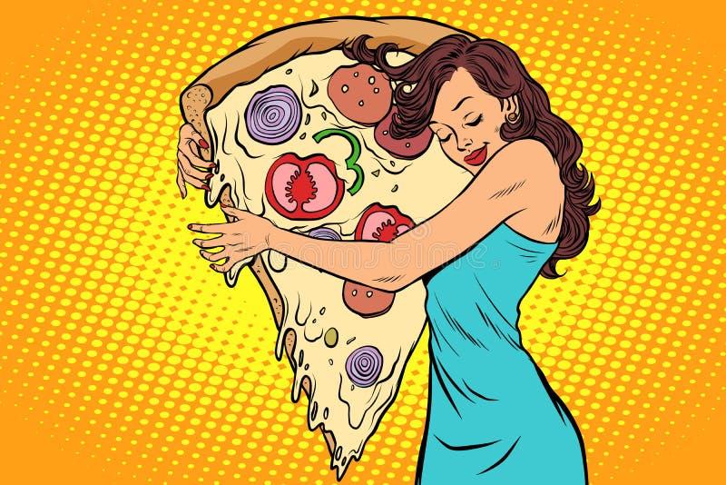 Kvinna som kramar en pizza stock illustrationer