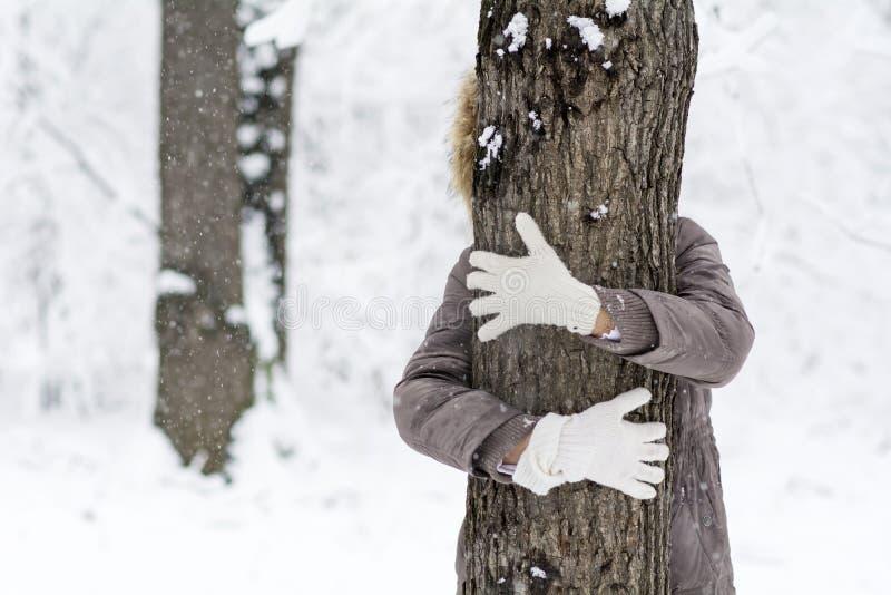 Kvinna som kramar ett träd i vinterskogen älska natur royaltyfri foto