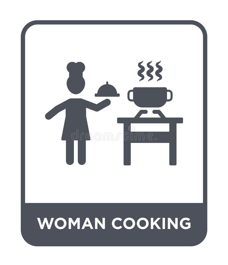kvinna som lagar mat symbolen i moderiktig designstil kvinna som lagar mat symbolen som isoleras på vit bakgrund kvinna som lagar royaltyfri illustrationer