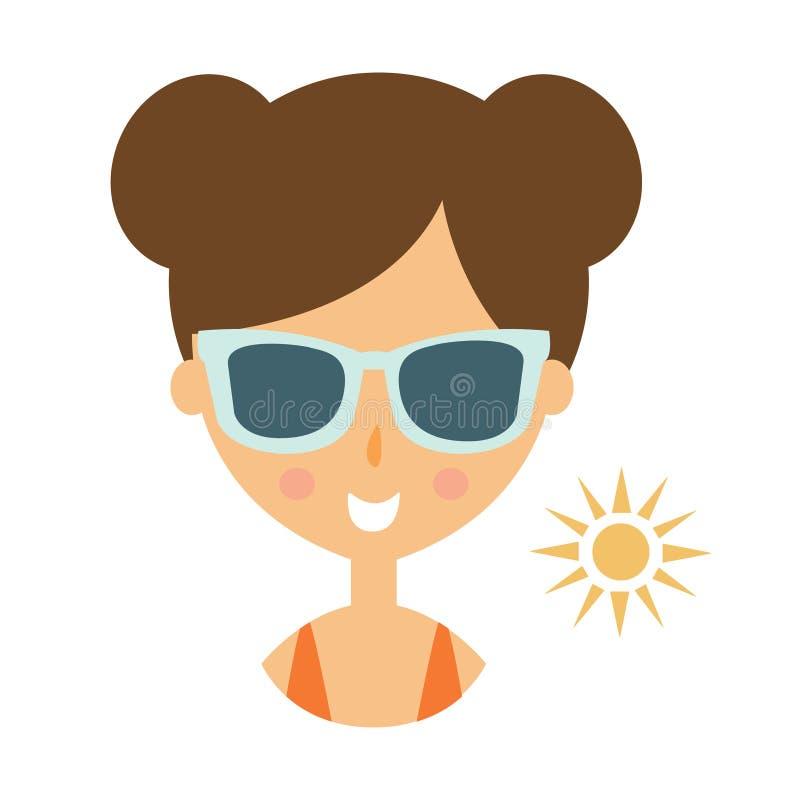 Kvinna som ler i mörka exponeringsglas som tycker om The Sun, del av serie för sommarstrandsemester av illustrationer stock illustrationer