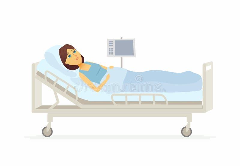 Kvinna som ligger i sjukhussäng - illustration för tecknad filmfolktecken vektor illustrationer