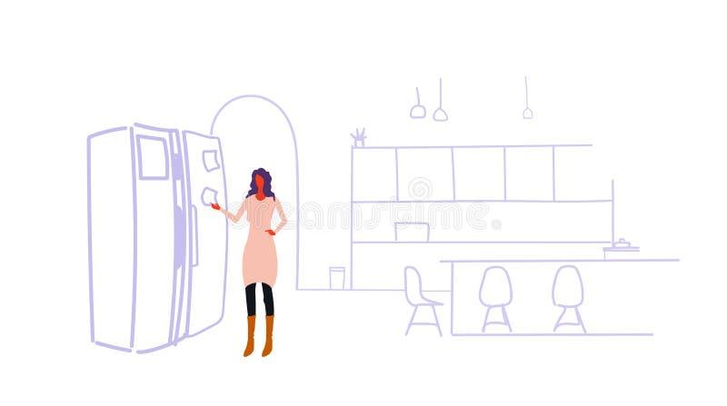 Kvinna som limmar det tomma pappers- arket på den tillfälliga flickan för kylskåpdörr som pekar den klibbiga anmärkningskylen som vektor illustrationer