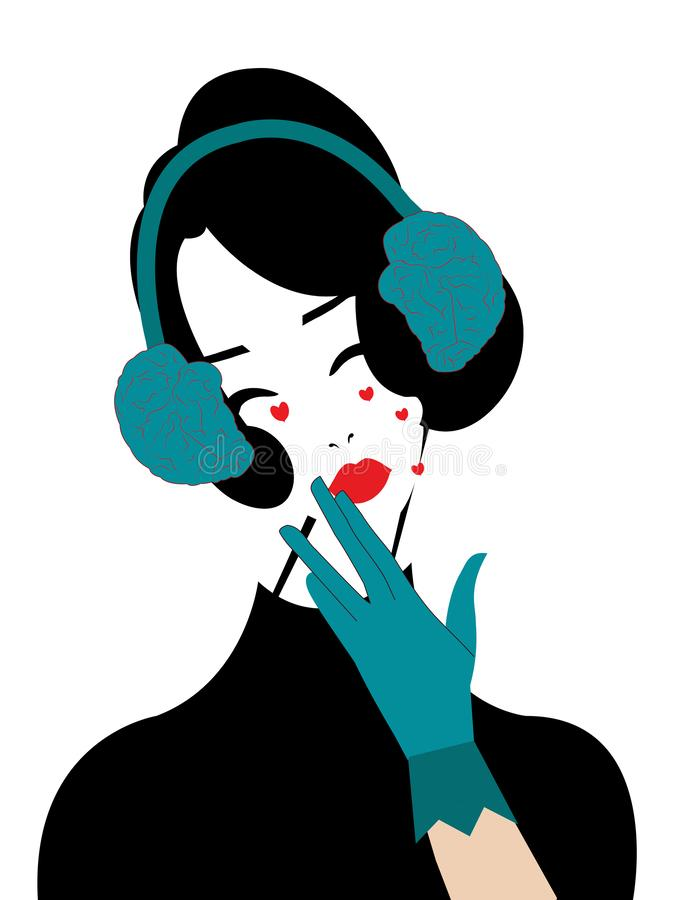 Kvinna som lyssnar till hjärnan vektor illustrationer