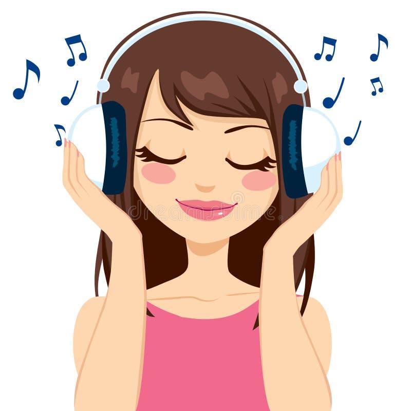 Kvinna som lyssnar till musik vektor illustrationer