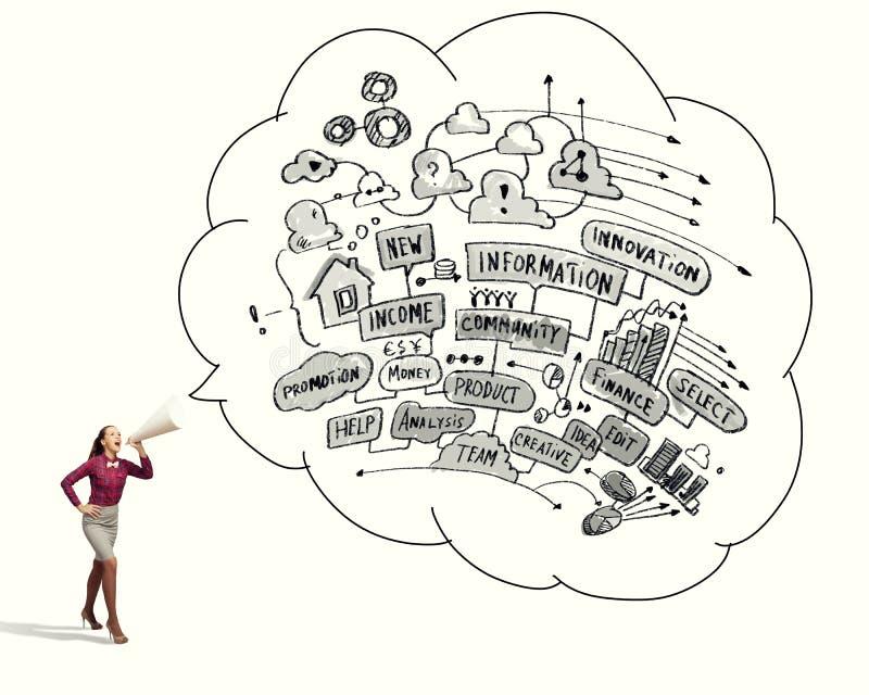 Kvinna som meddelar något vektor illustrationer