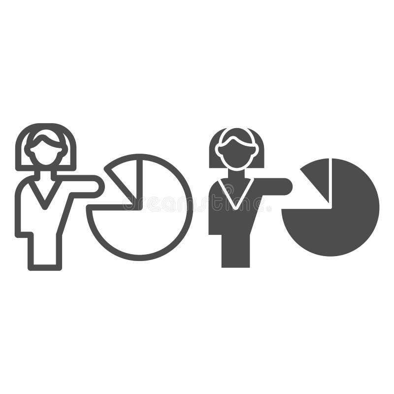 Kvinna som pekar på diagramlinjen och skårasymbolen Flickan visar presentationsvektorillustrationen som isoleras p? vit Pajgraf stock illustrationer