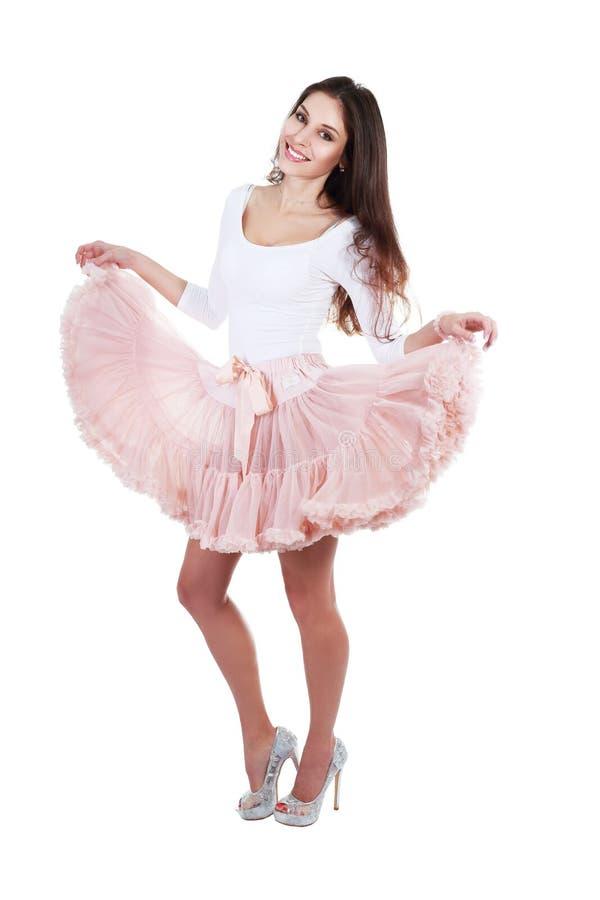 Kvinna som poserar i ballerinakjol royaltyfria foton