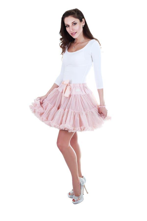 Kvinna som poserar i ballerinakjol royaltyfria bilder